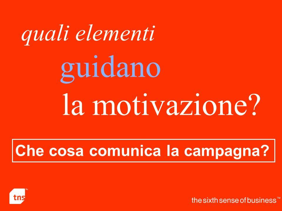 guidano quali elementi la motivazione? Che cosa comunica la campagna?