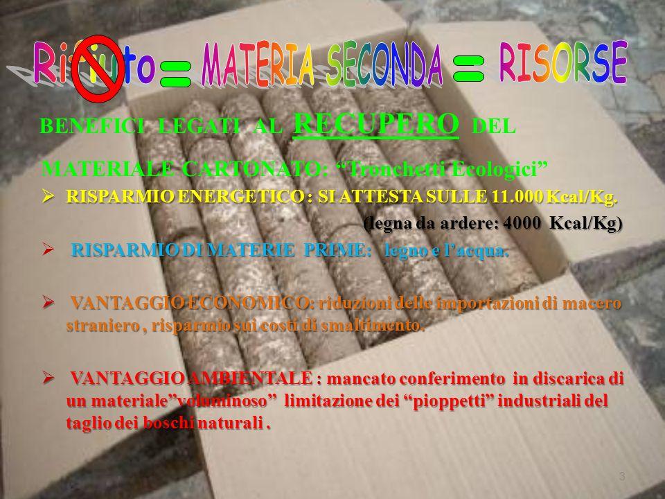 Benefici legati al RECUPERO delle materie plastiche RISPARMIO ENERGETICO: si attesta sulle 12.000 kcal/kg RISPARMIO DI MATERIE PRIME: il petrolio e i gas naturali VANTAGGIO AMBIENTALE: mancato conferimento in discarica di un materiale notevolmente voluminoso , a causa del suo basso peso specifico e della sua bassa comprimibilità in discarica; riduzione dell inquinamento visivo; minor accumulo nell ambiente; riduzione dell impatto dei processi di trasformazione del petrolio VANTAGGIO ECONOMICO: risparmio sui costi di smaltimento e sulle importazioni della materia prima 4