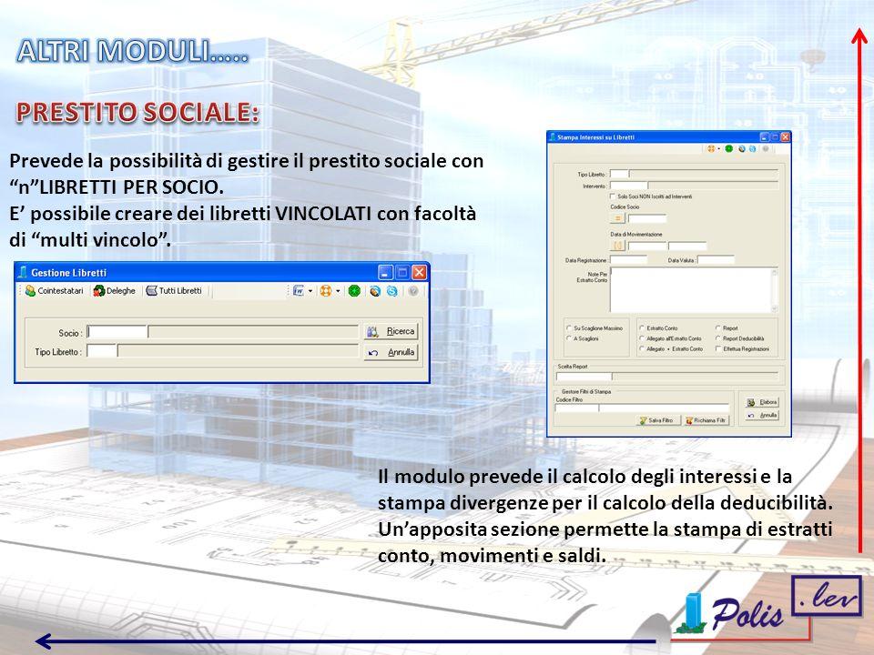 Prevede la possibilità di gestire il prestito sociale con nLIBRETTI PER SOCIO.