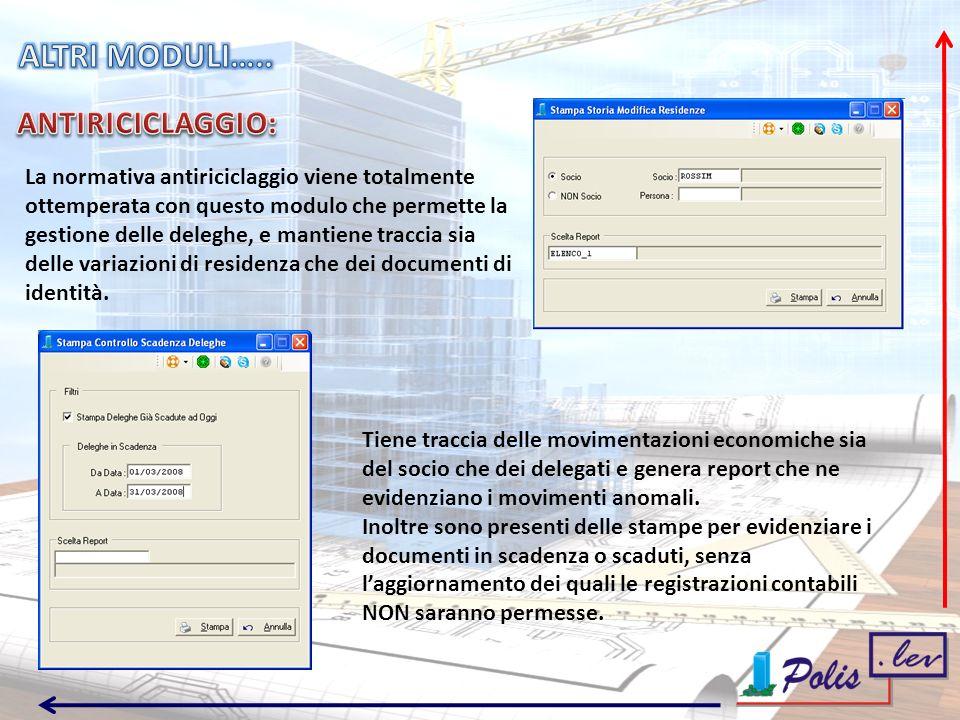 La normativa antiriciclaggio viene totalmente ottemperata con questo modulo che permette la gestione delle deleghe, e mantiene traccia sia delle variazioni di residenza che dei documenti di identità.