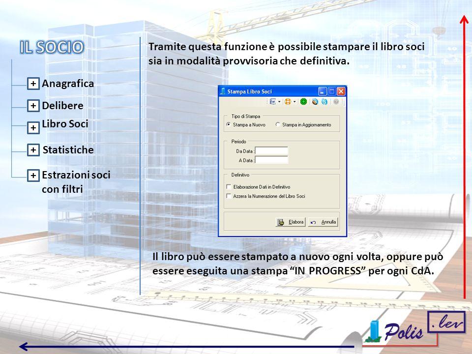 Delibere Libro Soci + + + + + Statistiche Estrazioni soci con filtri Tramite questa funzione è possibile stampare il libro soci sia in modalità provvisoria che definitiva.