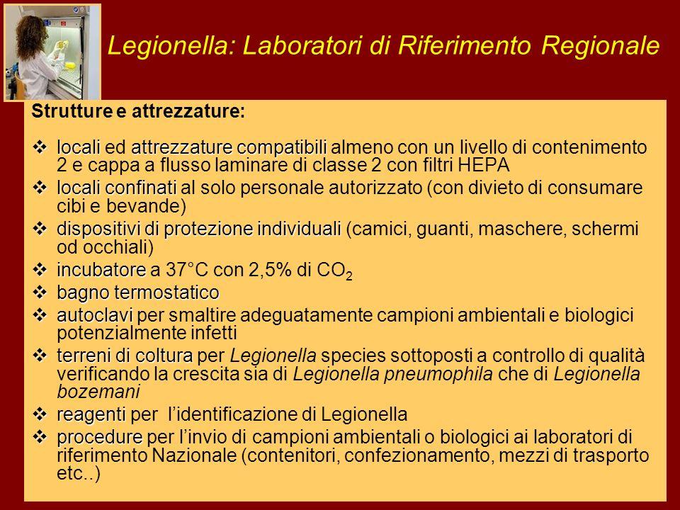Legionella: Laboratori di Riferimento Regionale Strutture e attrezzature: localiattrezzature compatibili locali ed attrezzature compatibili almeno con