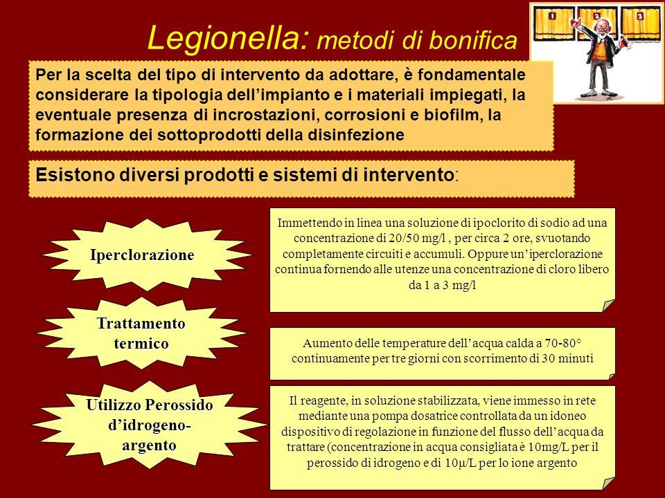 Legionella: metodi di bonifica Esistono diversi prodotti e sistemi di intervento: Iperclorazione Immettendo in linea una soluzione di ipoclorito di so