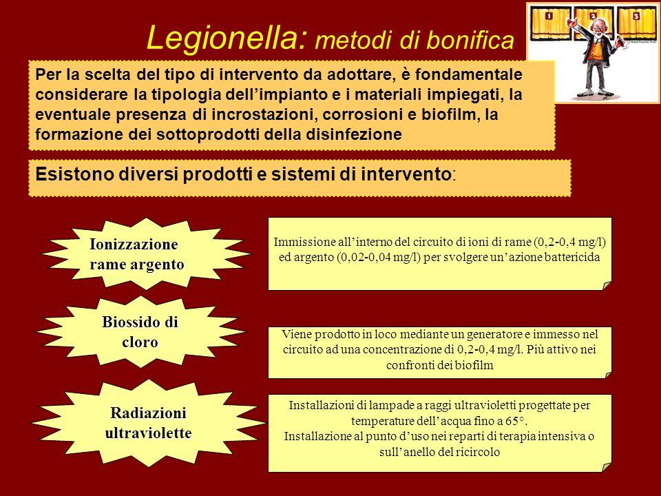 Legionella: metodi di bonifica Esistono diversi prodotti e sistemi di intervento: Ionizzazione rame argento Immissione allinterno del circuito di ioni