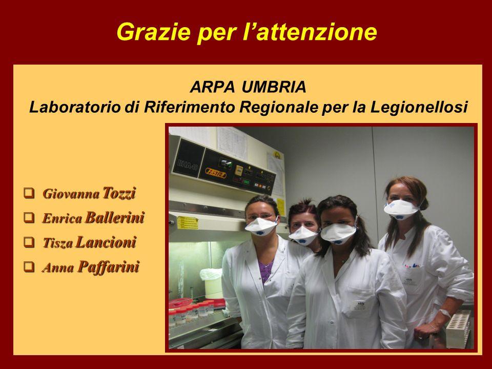ARPA UMBRIA Laboratorio di Riferimento Regionale per la Legionellosi Grazie per lattenzione Giovanna Tozzi Giovanna Tozzi Enrica Ballerini Enrica Ball
