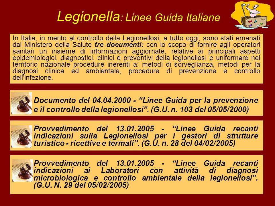 In Italia, in merito al controllo della Legionellosi, a tutto oggi, sono stati emanati dal Ministero della Salute tre documenti: con lo scopo di forni