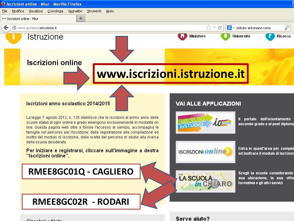 www.iscrizioni.istruzione.it RMEE8GC01Q - CAGLIERO RMEE8GC02R - RODARI