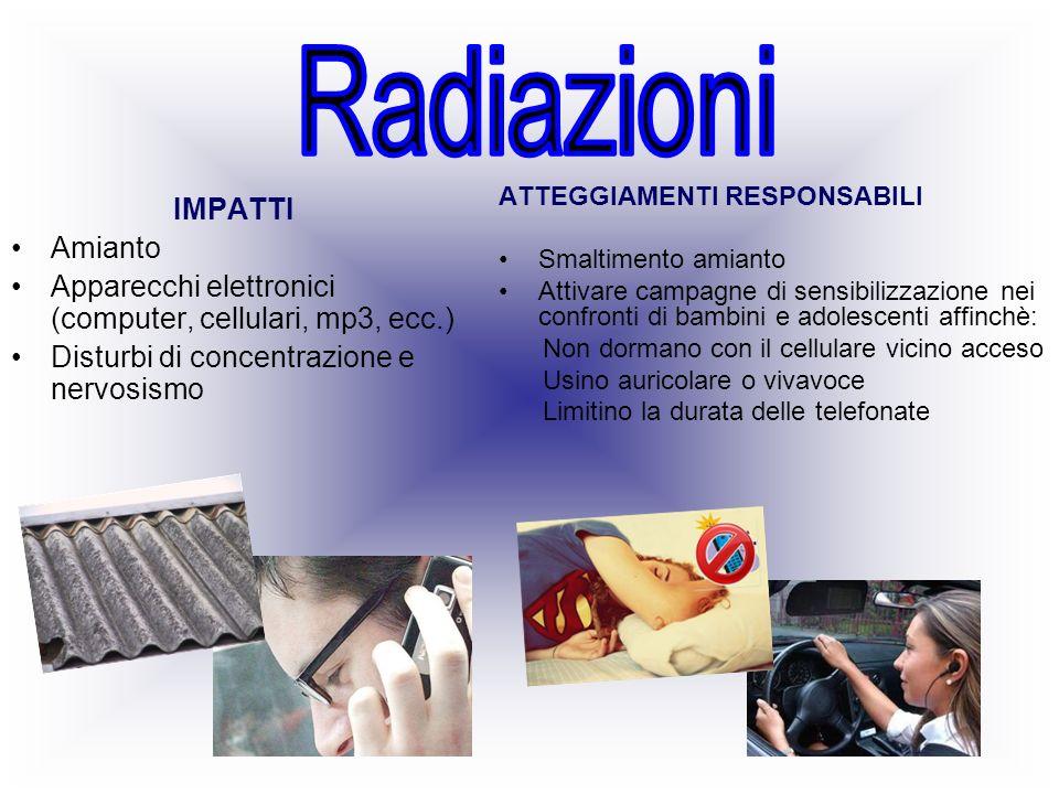 IMPATTI Amianto Apparecchi elettronici (computer, cellulari, mp3, ecc.) Disturbi di concentrazione e nervosismo ATTEGGIAMENTI RESPONSABILI Smaltimento
