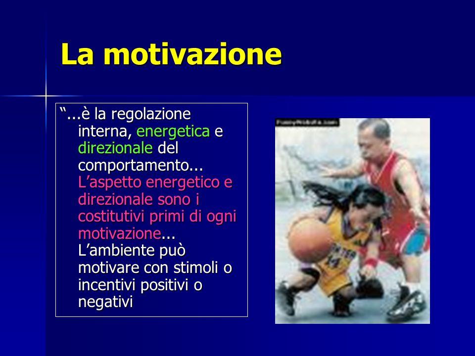 La motivazione...è la regolazione interna, energetica e direzionale del comportamento... Laspetto energetico e direzionale sono i costitutivi primi di