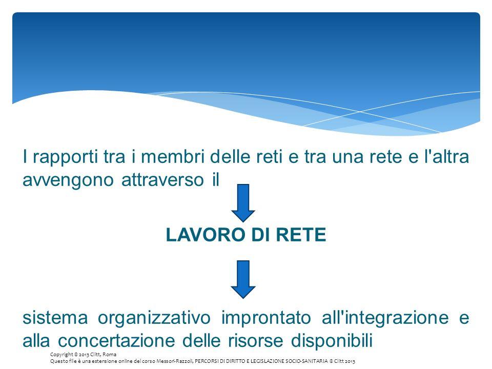 I rapporti tra i membri delle reti e tra una rete e l'altra avvengono attraverso il LAVORO DI RETE sistema organizzativo improntato all'integrazione e