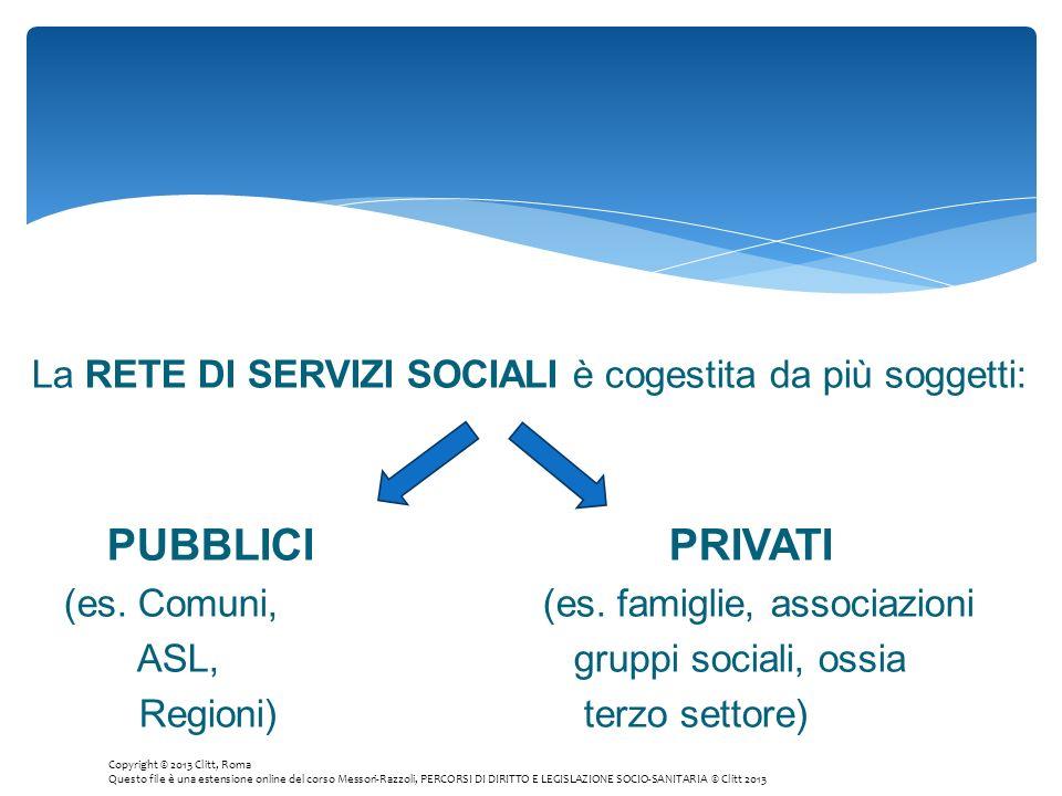 La RETE DI SERVIZI SOCIALI è cogestita da più soggetti: PUBBLICIPRIVATI (es. Comuni, (es. famiglie, associazioni ASL, gruppi sociali, ossia Regioni) t