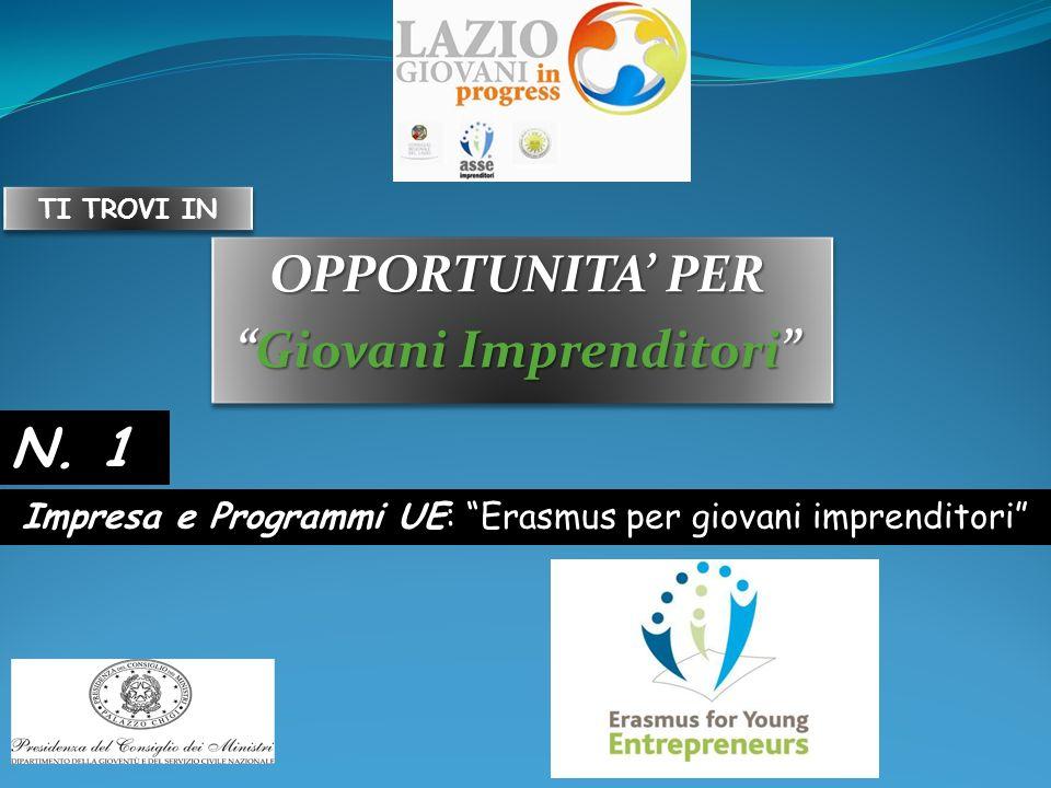 OPPORTUNITA PER Giovani ImprenditoriGiovani Imprenditori OPPORTUNITA PER Giovani ImprenditoriGiovani Imprenditori Impresa e Programmi UE: Erasmus per giovani imprenditori N.