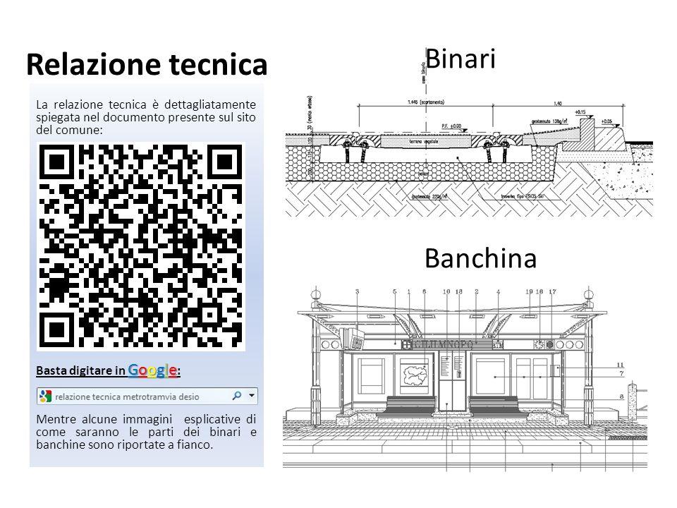 Relazione tecnica Binari Banchina La relazione tecnica è dettagliatamente spiegata nel documento presente sul sito del comune: Google Basta digitare i