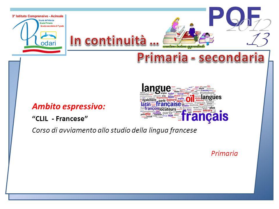 Ambito espressivo: CLIL - Francese Corso di avviamento allo studio della lingua francese Primaria