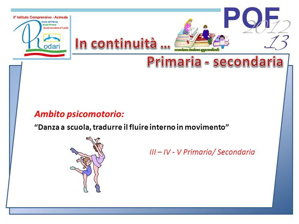 Ambito psicomotorio: Danza a scuola, tradurre il fluire interno in movimento III – IV - V Primaria/ Secondaria