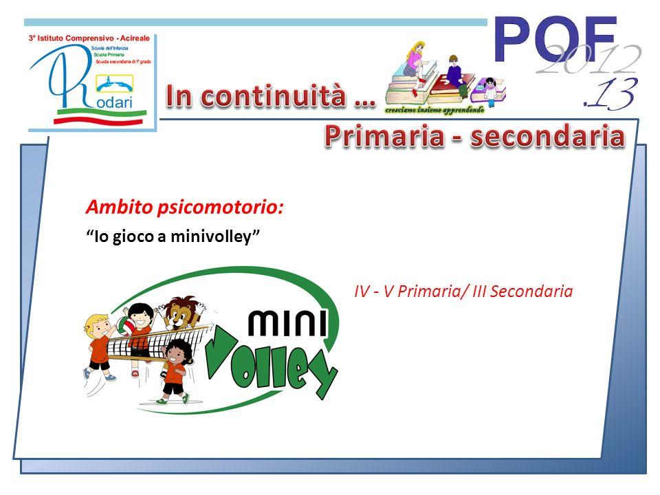 Ambito psicomotorio: Io gioco a minivolley IV - V Primaria/ III Secondaria