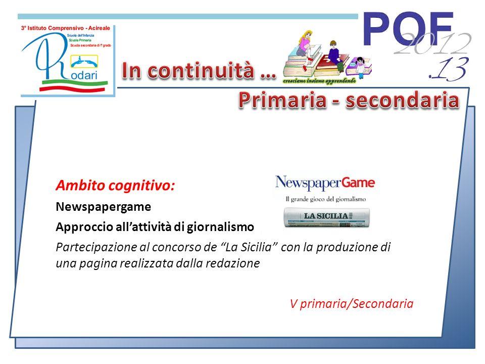 Ambito cognitivo: Newspapergame Approccio allattività di giornalismo Partecipazione al concorso de La Sicilia con la produzione di una pagina realizzata dalla redazione V primaria/Secondaria