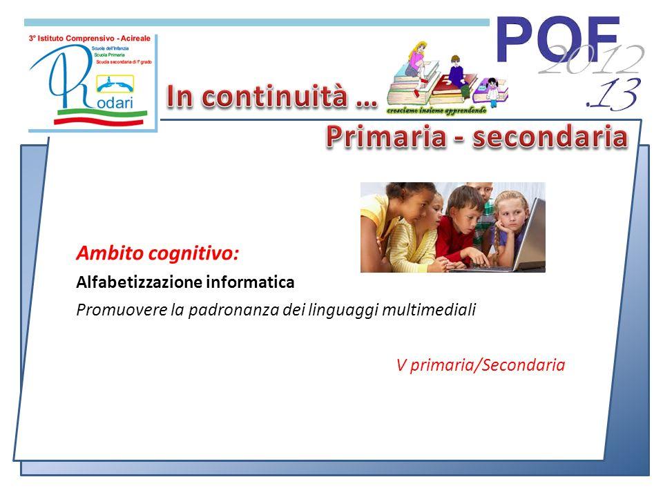 Ambito cognitivo: Alfabetizzazione informatica Promuovere la padronanza dei linguaggi multimediali V primaria/Secondaria