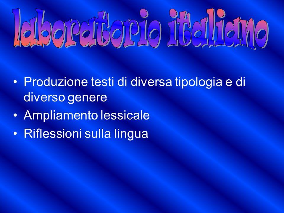 Produzione testi di diversa tipologia e di diverso genere Ampliamento lessicale Riflessioni sulla lingua