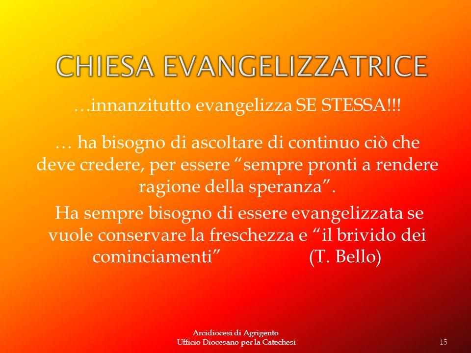 Arcidiocesi di Agrigento Ufficio Diocesano per la Catechesi …innanzitutto evangelizza SE STESSA!!! … ha bisogno di ascoltare di continuo ciò che deve