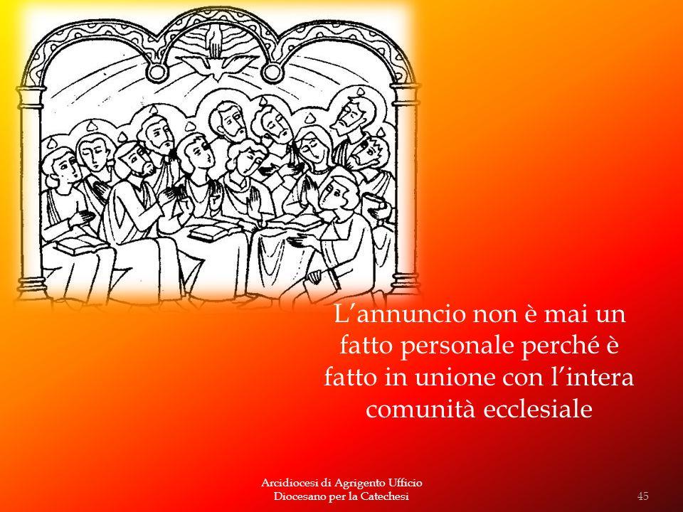 Arcidiocesi di Agrigento Ufficio Diocesano per la Catechesi Lannuncio non è mai un fatto personale perché è fatto in unione con lintera comunità eccle