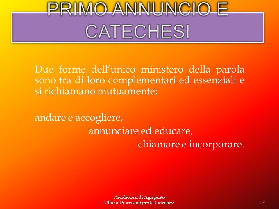 Arcidiocesi di Agrigento Ufficio Diocesano per la Catechesi Due forme dellunico ministero della parola sono tra di loro complementari ed essenziali e
