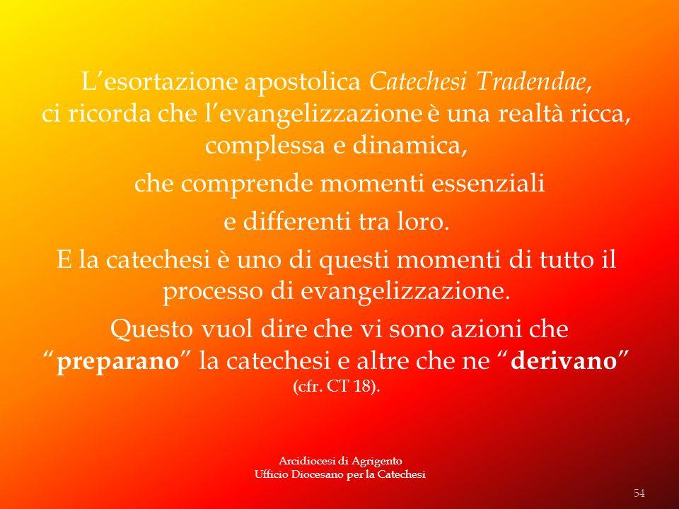 Arcidiocesi di Agrigento Ufficio Diocesano per la Catechesi Lesortazione apostolica Catechesi Tradendae, ci ricorda che levangelizzazione è una realtà