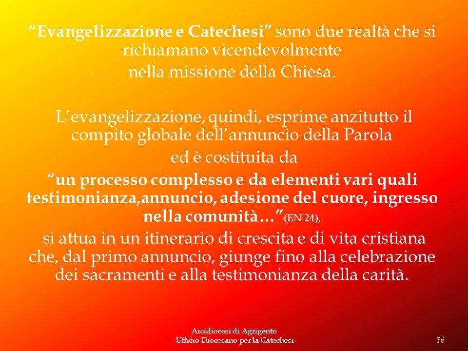 Arcidiocesi di Agrigento Ufficio Diocesano per la Catechesi Evangelizzazione e Catechesi sono due realtà che si richiamano vicendevolmente nella missi