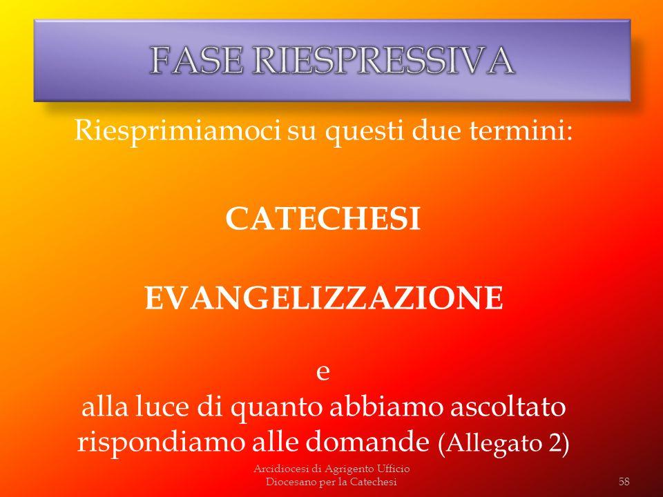 Arcidiocesi di Agrigento Ufficio Diocesano per la Catechesi58 Riesprimiamoci su questi due termini: CATECHESI EVANGELIZZAZIONE e alla luce di quanto a