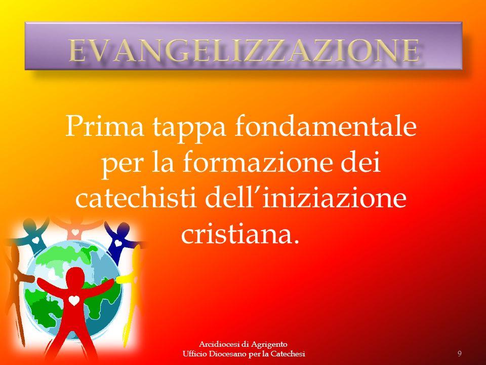 Arcidiocesi di Agrigento Ufficio Diocesano per la Catechesi Prima tappa fondamentale per la formazione dei catechisti delliniziazione cristiana. 9