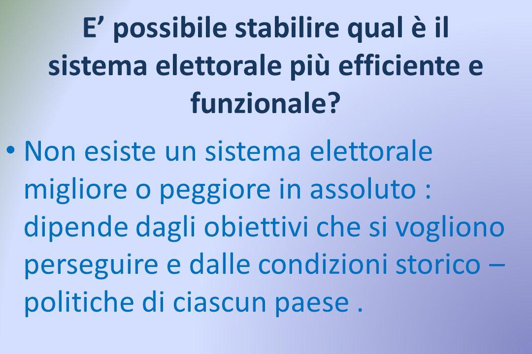 Sistemi maggioritari e proporzionali corretti Vantaggi : -tendono a semplificare il sistema dei partiti; -assicurano una maggiore stabilità dei govern