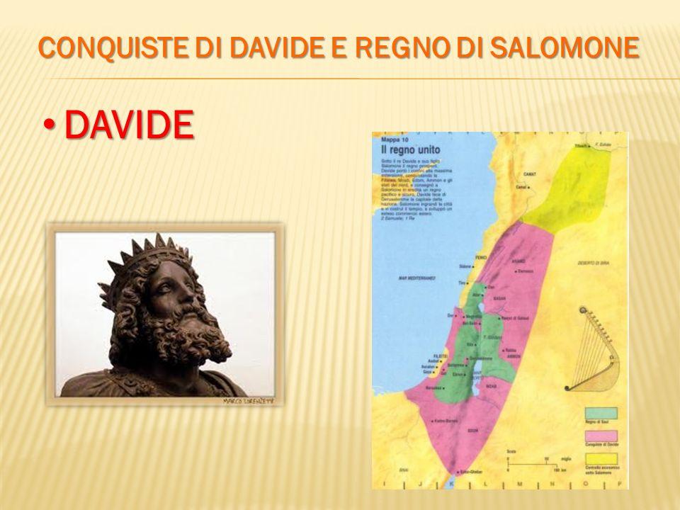 CONQUISTE DI DAVIDE E REGNO DI SALOMONE DAVIDE DAVIDE