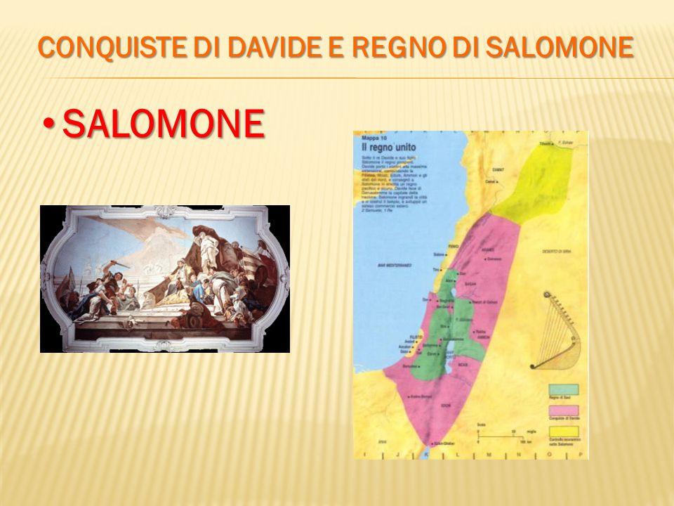 CONQUISTE DI DAVIDE E REGNO DI SALOMONE SALOMONE SALOMONE