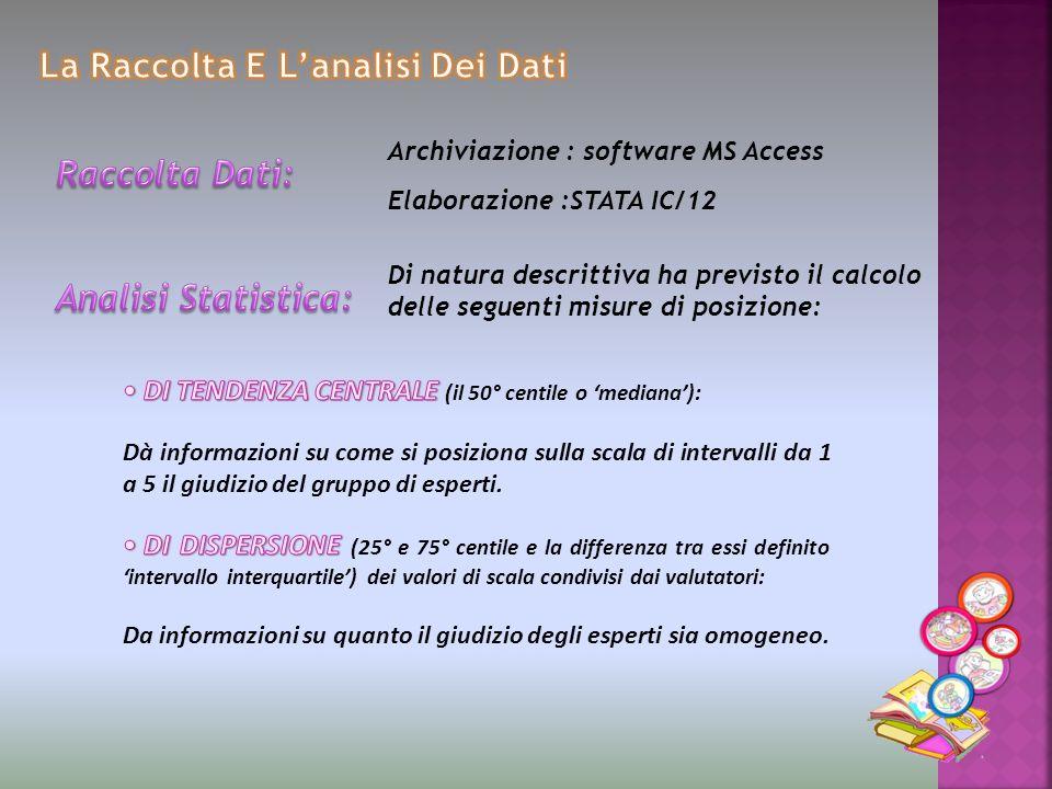 Archiviazione : software MS Access Elaborazione :STATA IC/12 Di natura descrittiva ha previsto il calcolo delle seguenti misure di posizione: