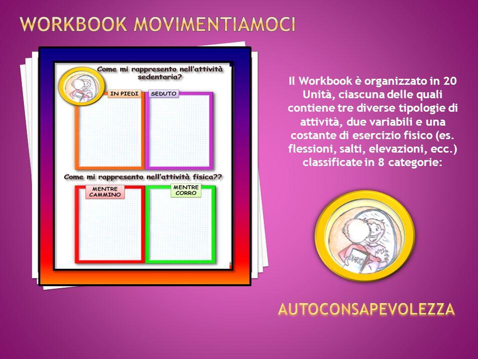 Il Workbook è organizzato in 20 Unità, ciascuna delle quali contiene tre diverse tipologie di attività, due variabili e una costante di esercizio fisico (es.