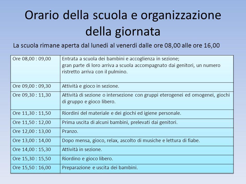 Orario della scuola e organizzazione della giornata La scuola rimane aperta dal lunedi al venerdi dalle ore 08,00 alle ore 16,00