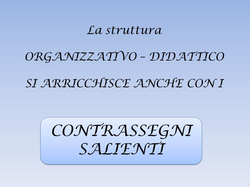 La struttura ORGANIZZATIVO – DIDATTICO SI ARRICCHISCE ANCHE CON I CONTRASSEGNI SALIENTI