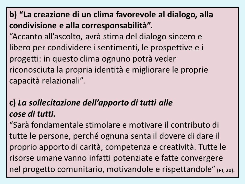 b) La creazione di un clima favorevole al dialogo, alla condivisione e alla corresponsabilità. Accanto allascolto, avrà stima del dialogo sincero e li