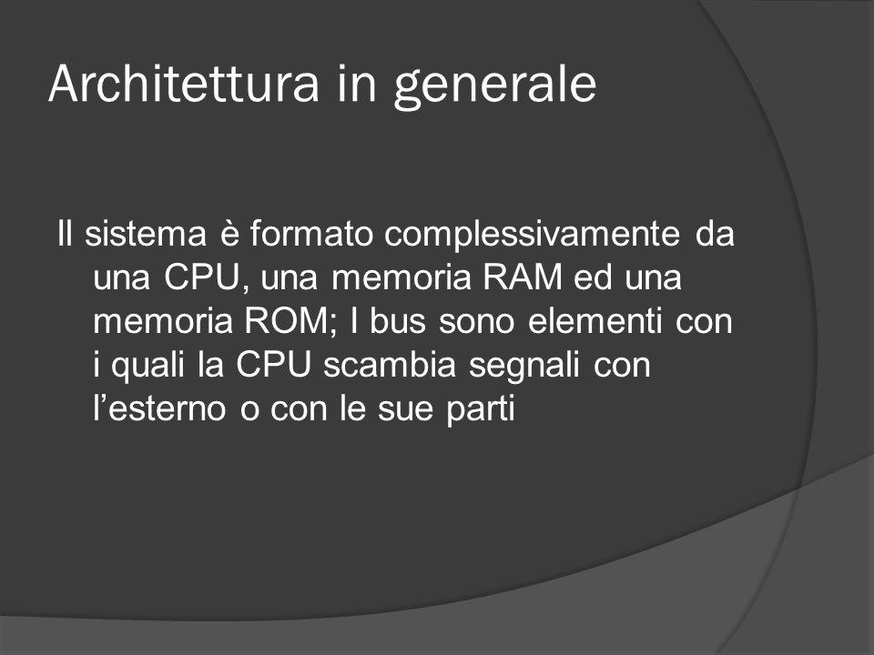 Architettura in generale Il sistema è formato complessivamente da una CPU, una memoria RAM ed una memoria ROM; I bus sono elementi con i quali la CPU scambia segnali con lesterno o con le sue parti