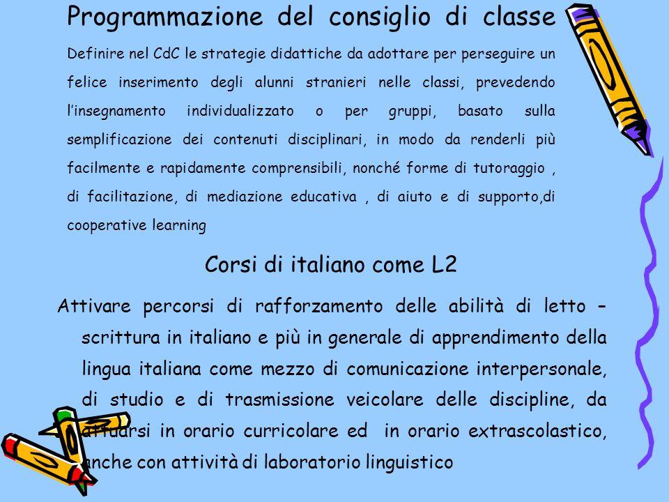 Programmazione del consiglio di classe Definire nel CdC le strategie didattiche da adottare per perseguire un felice inserimento degli alunni stranieri nelle classi, prevedendo linsegnamento individualizzato o per gruppi, basato sulla semplificazione dei contenuti disciplinari, in modo da renderli più facilmente e rapidamente comprensibili, nonché forme di tutoraggio, di facilitazione, di mediazione educativa, di aiuto e di supporto,di cooperative learning Corsi di italiano come L2 Attivare percorsi di rafforzamento delle abilità di letto – scrittura in italiano e più in generale di apprendimento della lingua italiana come mezzo di comunicazione interpersonale, di studio e di trasmissione veicolare delle discipline, da attuarsi in orario curricolare ed in orario extrascolastico, anche con attività di laboratorio linguistico