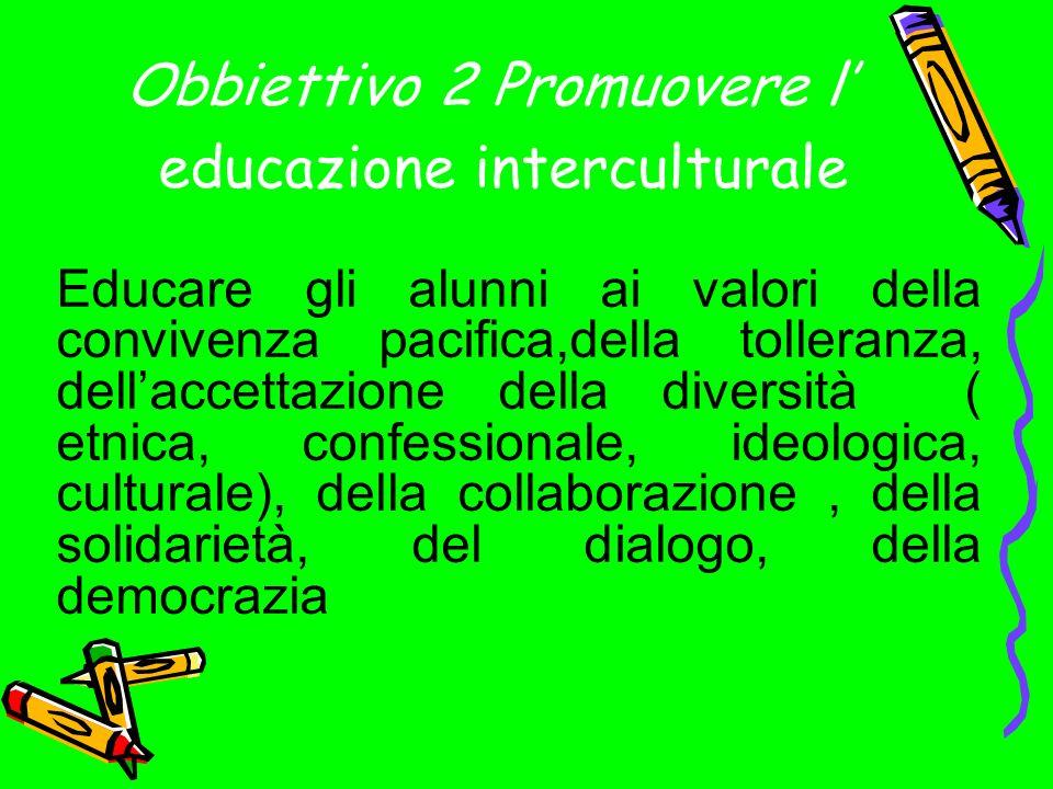 Obbiettivo 2 Promuovere l educazione interculturale Educare gli alunni ai valori della convivenza pacifica,della tolleranza, dellaccettazione della diversità ( etnica, confessionale, ideologica, culturale), della collaborazione, della solidarietà, del dialogo, della democrazia