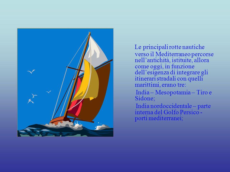 India Occidentale – Golfo Persico – coste arabe meridionali – Mar Rosso – Nilo – Alessandria.