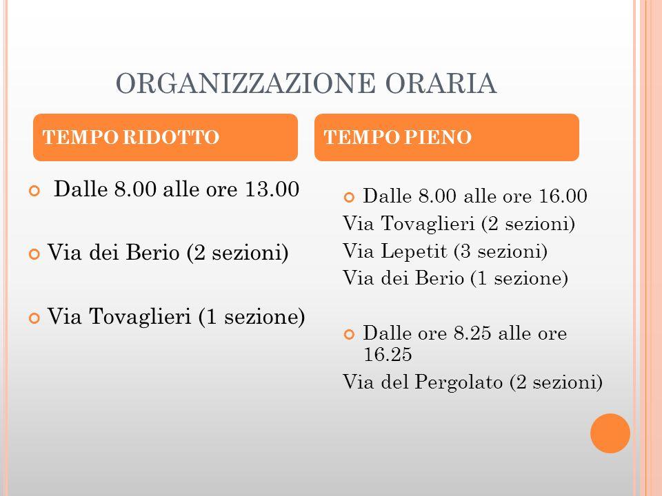 ORGANIZZAZIONE ORARIA Dalle 8.00 alle ore 13.00 Via dei Berio (2 sezioni) Via Tovaglieri (1 sezione) Dalle 8.00 alle ore 16.00 Via Tovaglieri (2 sezio