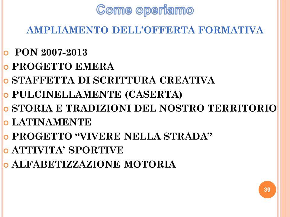 39 AMPLIAMENTO DELLOFFERTA FORMATIVA PON 2007-2013 PROGETTO EMERA STAFFETTA DI SCRITTURA CREATIVA PULCINELLAMENTE (CASERTA) STORIA E TRADIZIONI DEL NOSTRO TERRITORIO LATINAMENTE PROGETTO VIVERE NELLA STRADA ATTIVITA SPORTIVE ALFABETIZZAZIONE MOTORIA