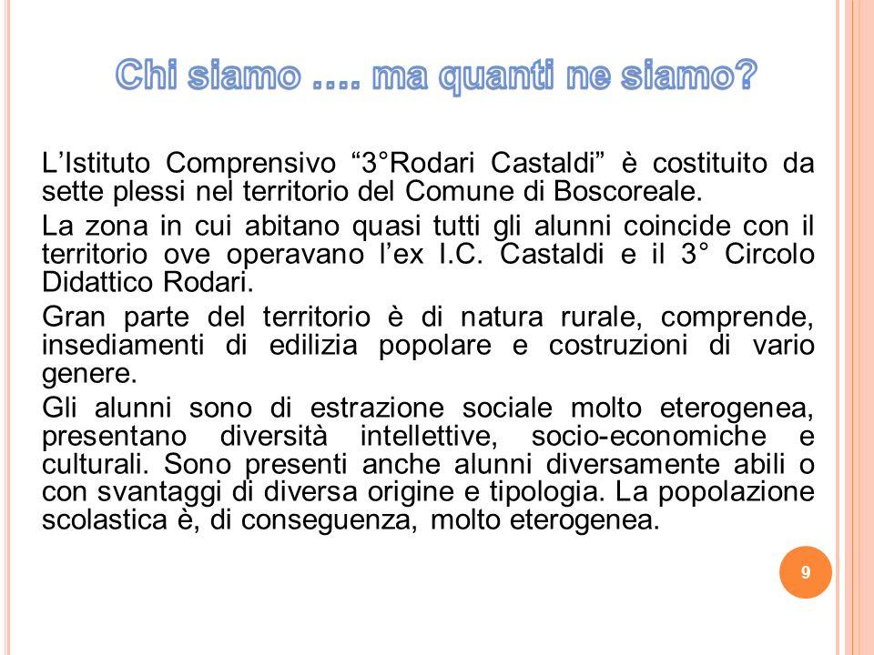 LIstituto Comprensivo 3°Rodari Castaldi è costituito da sette plessi nel territorio del Comune di Boscoreale.