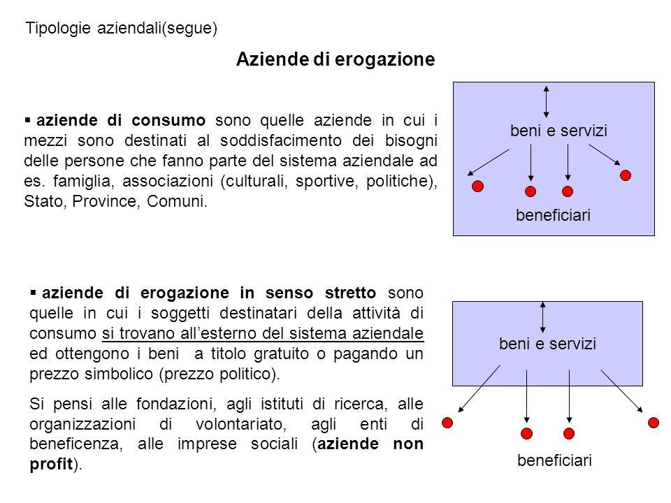 Tipologie aziendali(segue) aziende di consumo sono quelle aziende in cui i mezzi sono destinati al soddisfacimento dei bisogni delle persone che fanno parte del sistema aziendale ad es.