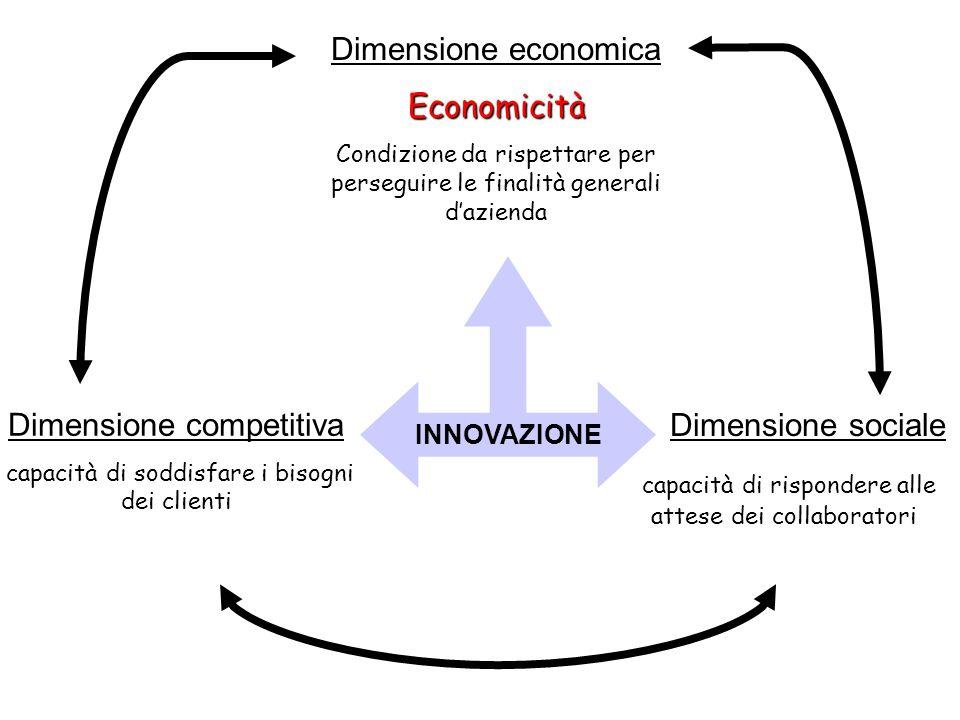 Dimensione competitiva capacità di soddisfare i bisogni dei clienti Dimensione sociale capacità di rispondere alle attese dei collaboratori INNOVAZIONE Dimensione economicaEconomicità Condizione da rispettare per perseguire le finalità generali dazienda INNOVAZIONEINNOVAZIONE