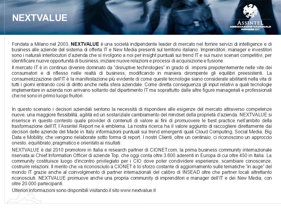 NEXTVALUE Fondata a Milano nel 2003, NEXTVALUE è una società indipendente leader di mercato nel fornire servizi di intelligence e di business alle azi