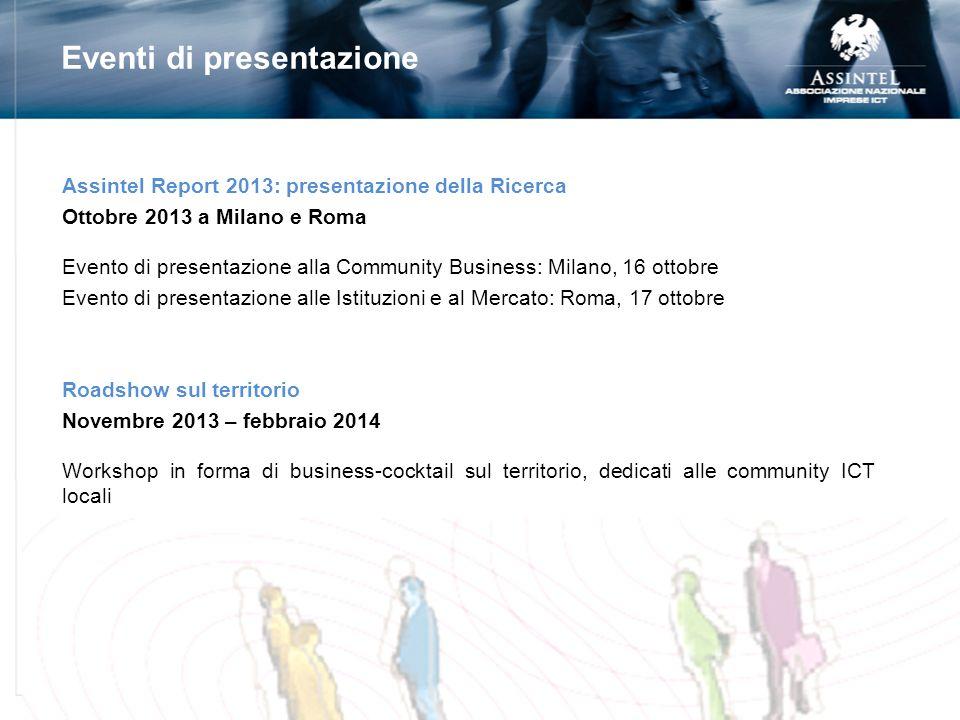 Assintel Report 2013: presentazione della Ricerca Ottobre 2013 a Milano e Roma Evento di presentazione alla Community Business: Milano, 16 ottobre Eve