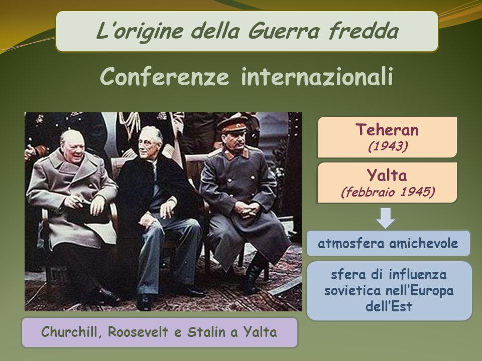 Lorigine della Guerra fredda atmosfera amichevole Teheran (1943) Yalta (febbraio 1945) Churchill, Roosevelt e Stalin a Yalta Conferenze internazionali